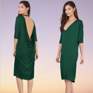 TOBI Hanging On Green Plunge Draped Grecian Dress